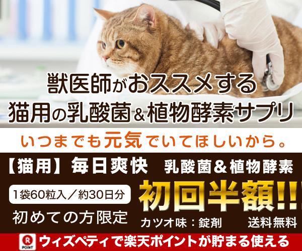 獣医師推奨の猫用(カツオ味)の乳酸菌&植物酵素配合サプリ